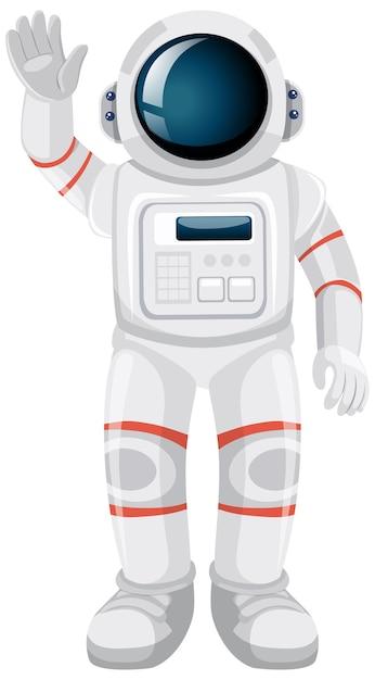 Isolierte astronautenkarikatur auf weißem hintergrund Kostenlosen Vektoren