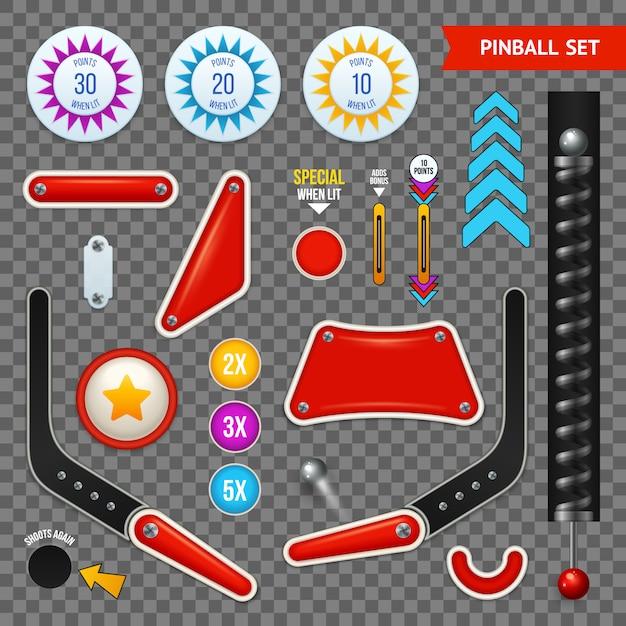Isolierte flipperelemente transparenter symbolsatz mit verschiedenen satzknöpfen und werkzeugvektorillustration Kostenlosen Vektoren