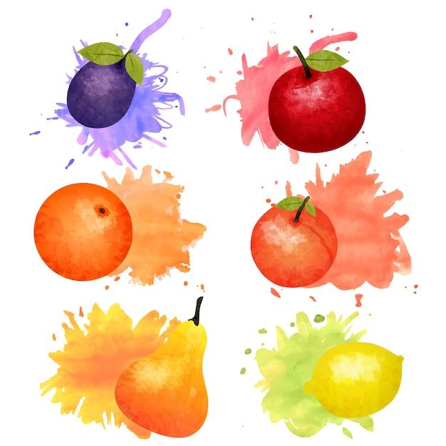 Isolierte früchte und beeren aquarell mit bunten flecken gesetzt Kostenlosen Vektoren