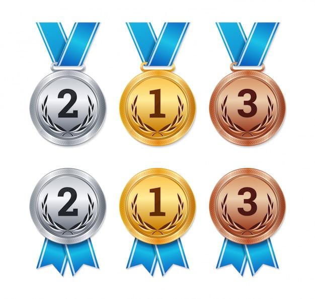 Isolierte gold-, silber- und bronzemedaillen, championpreise, Premium Vektoren