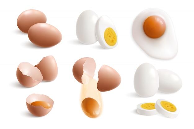 Isolierte hühnereier realistischer satz mit gekochter spiegeleier-eierschale und eigelb-vektorillustration Kostenlosen Vektoren