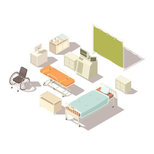 Isolierte isometrische elemente des krankenhausinnenraums Kostenlosen Vektoren