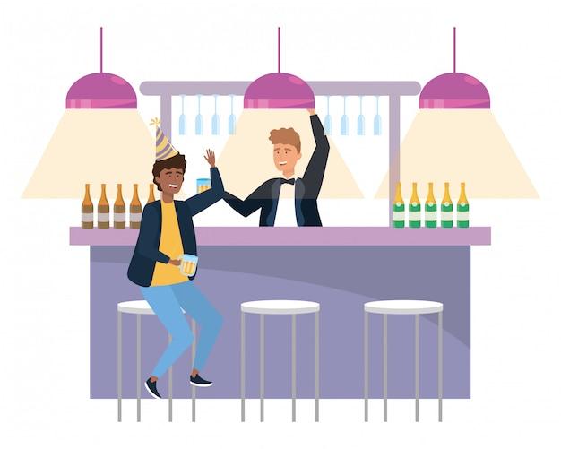 Isolierte männer in einer bar Premium Vektoren