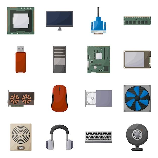 Isolierte objekt computer und hardware-symbol. legen sie den computer- und komponentenbestand fest. Premium Vektoren