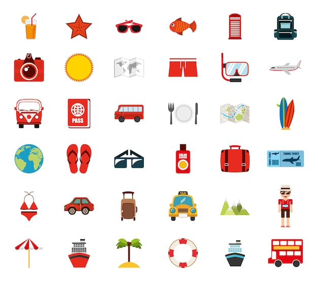 Isolierte reise-icon-set Kostenlosen Vektoren
