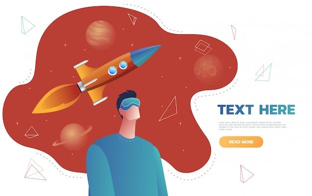 Isolierter charakter junger mann in einem virtual-reality-helm, starten weltraumraketenflug. konzept der science-fiction und weltraum, vr. flache karikatur bunte illustration. Premium Vektoren