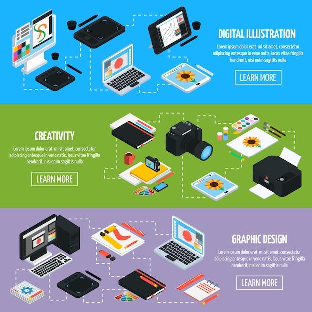 Isometic horizontale banner des grafikdesigns Kostenlosen Vektoren