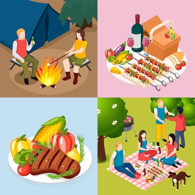 Isometic ikone des bbq-grillpicknicks stellte mit partei im holzrestaurant-grillplattenzelt und im lagerfeuer im wald ein Kostenlosen Vektoren