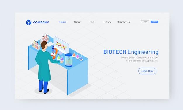 Isometric biotech engineering landingpage design Premium Vektoren