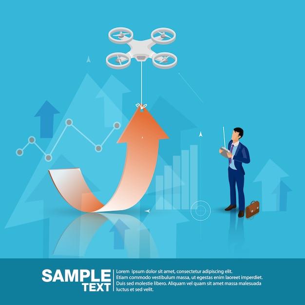 Isometric future business leader kontrolldrohnen Premium Vektoren
