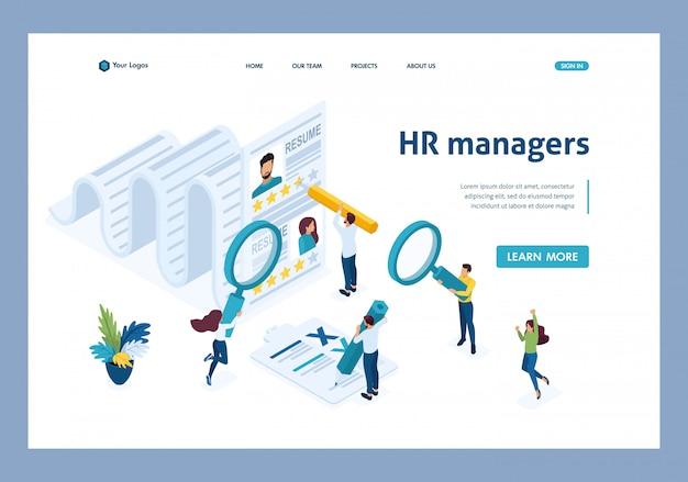 Isometric hr manager, berücksichtigung der zusammenfassung, rekrutierungskonzept landing page Premium Vektoren