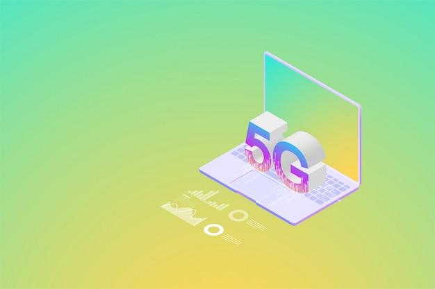 Isometric new 5g wireless-netzwerk die nächste generation der internet-kommunikation, internet der dinge auf smartphone-konnektivität. Premium Vektoren