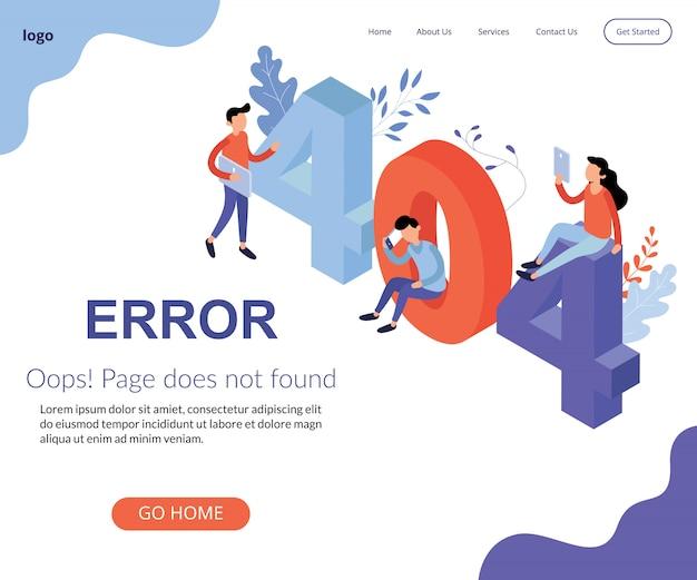 Isometric not working error lost nicht gefunden 404 sign problem Premium Vektoren