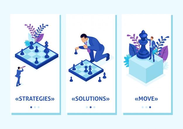 Isometric template app big business trifft eine fundierte entscheidung, schachspiel, wachstumsstrategie, smartphone-apps. einfach zu bearbeiten und anzupassen Premium Vektoren