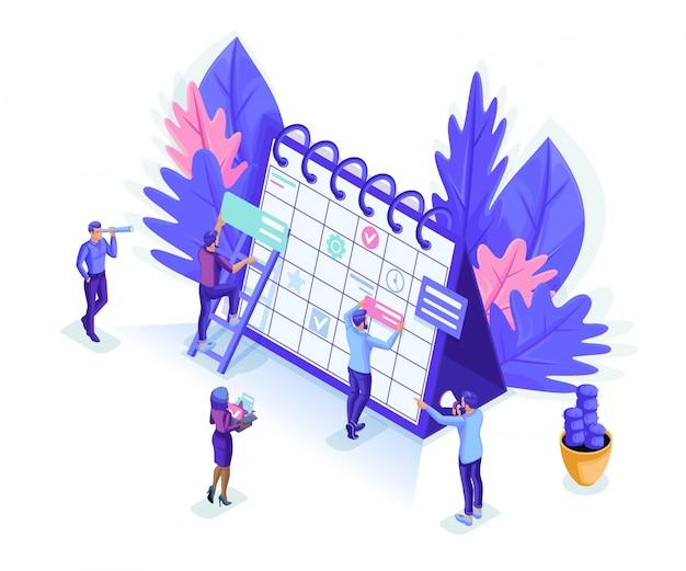 Isometrics leute arbeiten zusammen web-industrie. kleine leute machen einen online-zeitplan. Premium Vektoren