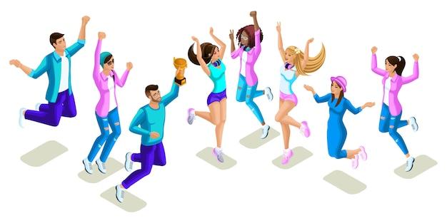 Isometrics teenager springen, helles design, generation z, coole mädchen und jungen, menschen, telefone, geräte Premium Vektoren
