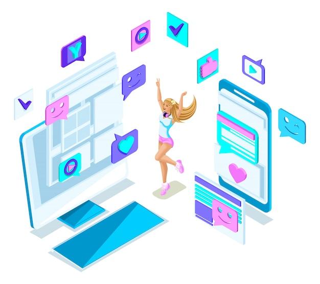 Isometrie cooles mädchen teenager, springen, generation z, schöne und junge blondine, in sommerkleidung, social-networking-telefone, gadgets Premium Vektoren