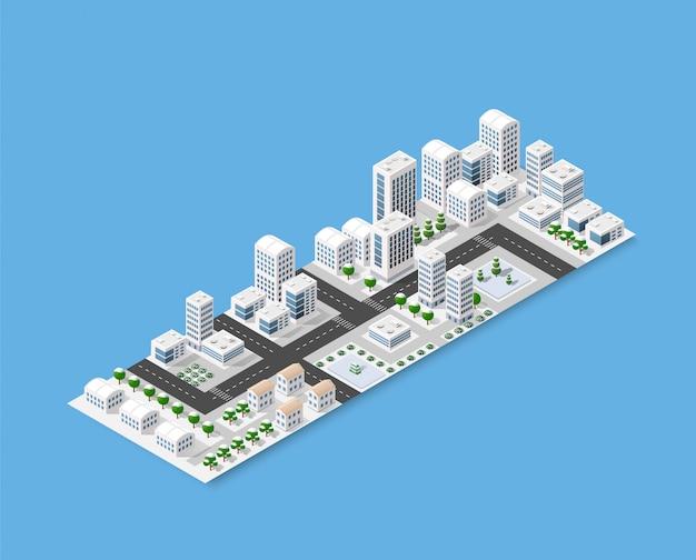Isometrie der modernen stadt Premium Vektoren