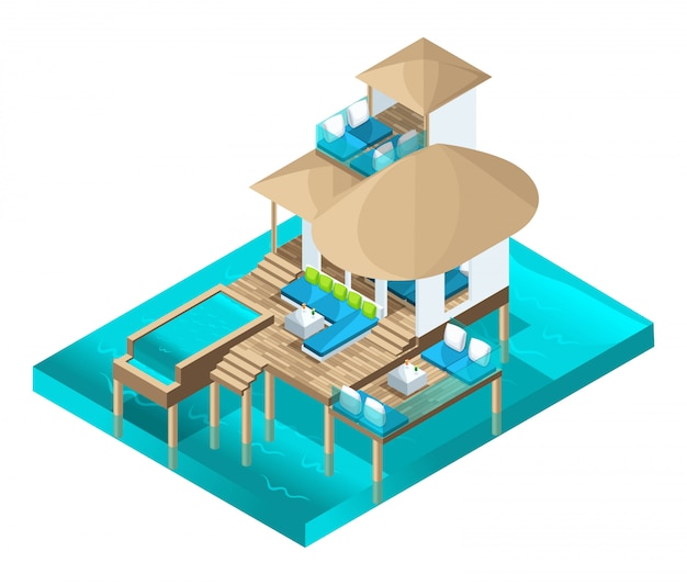 Isometrie schicker bungalow auf den malediven, ein prächtiger raum mitten im meer Premium Vektoren