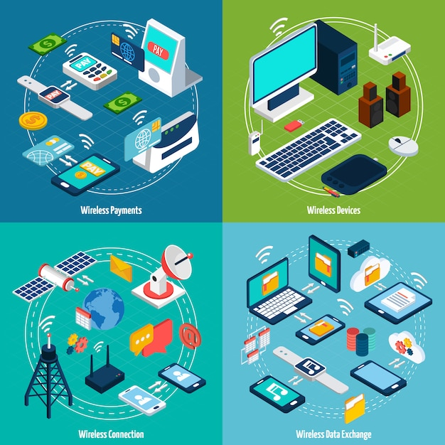 Isometrie-set für drahtlose technologien Kostenlosen Vektoren