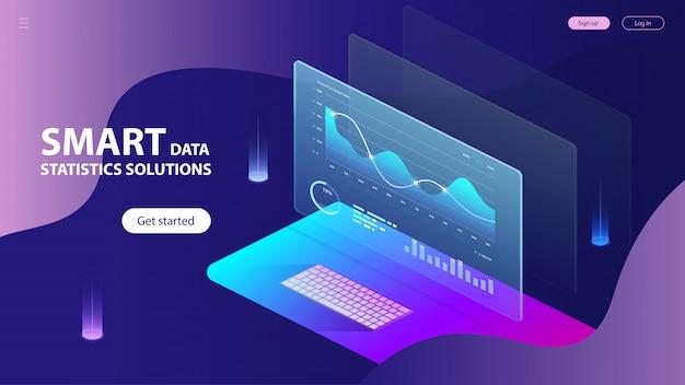 Isometrie von statistiken zur analyse intelligenter daten Premium Vektoren