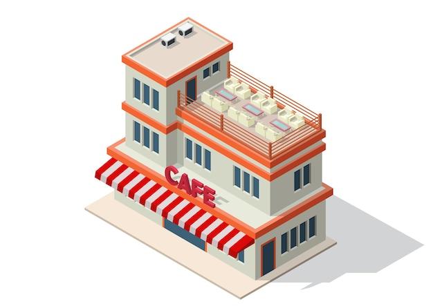 Isometrisch eines coffeeshops oder cafés Premium Vektoren