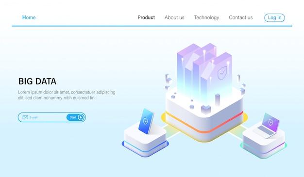 Isometrisch für big data processing- und data-hosting-server Premium Vektoren