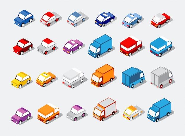 Isometrisch gesetzte autos Premium Vektoren