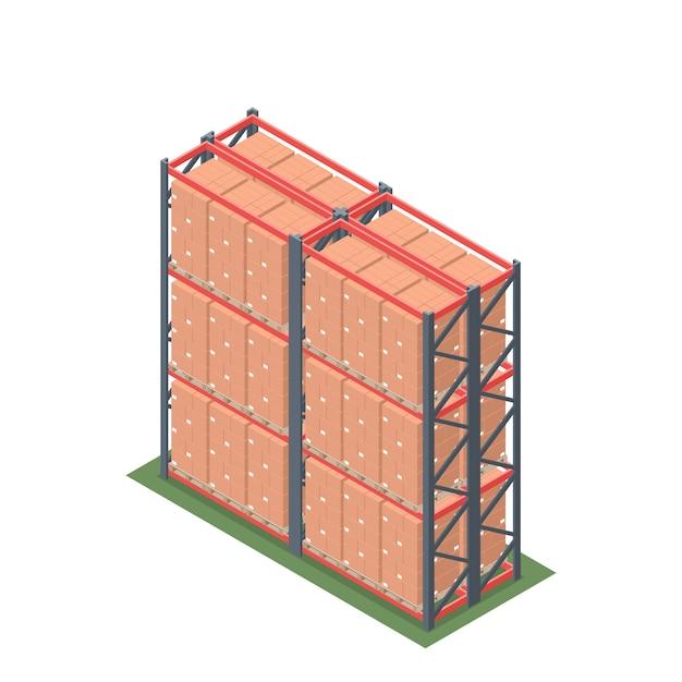 Isometrisch vom lagergestell mit palette Premium Vektoren