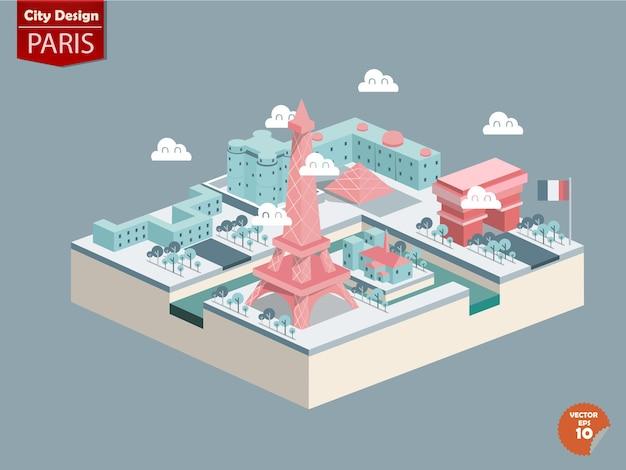 Isometrisch von london paris, frankreich. Premium Vektoren