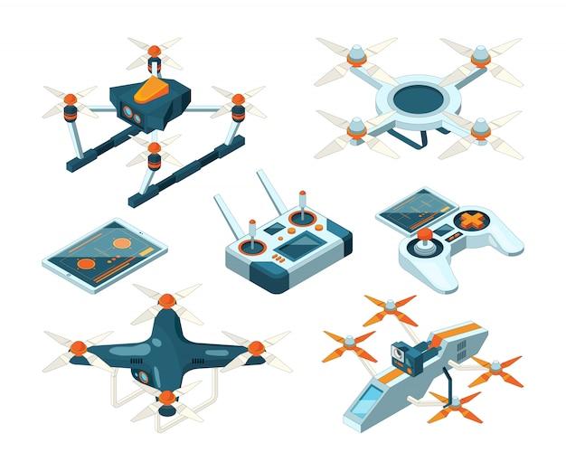 Isometrische 3d-bilder von drohnenkopplern, quadcoptern oder unbemannten flugzeugen Premium Vektoren