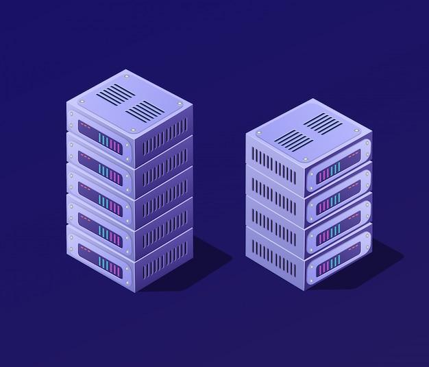 Isometrische 3d-blockchain Premium Vektoren