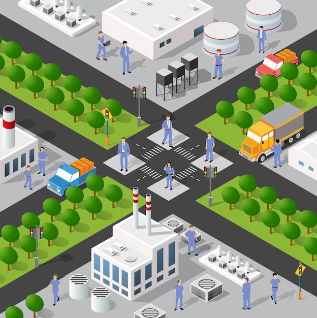 Isometrische 3d-darstellung des stadtviertels des industriegebiets mit häusern Premium Vektoren