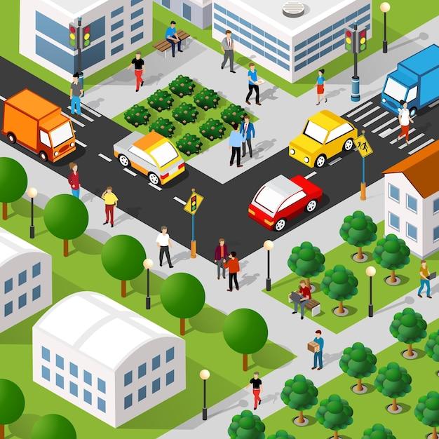 Isometrische 3d-darstellung des stadtviertels mit häusern Premium Vektoren