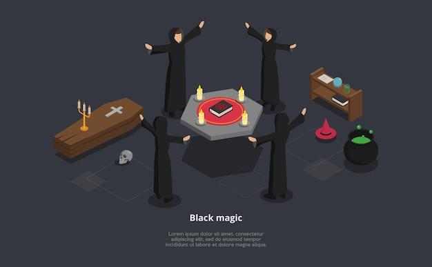 Isometrische 3d-illustration des rituals der schwarzen magie. vektorkomposition mit lorem ipsum text. vier charaktere in schwarzen mänteln, die ritus um den tisch ausführen Premium Vektoren