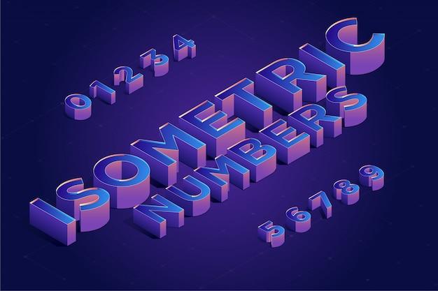 Isometrische 3d nummer schriftart festgelegt. vektor-illustration Premium Vektoren