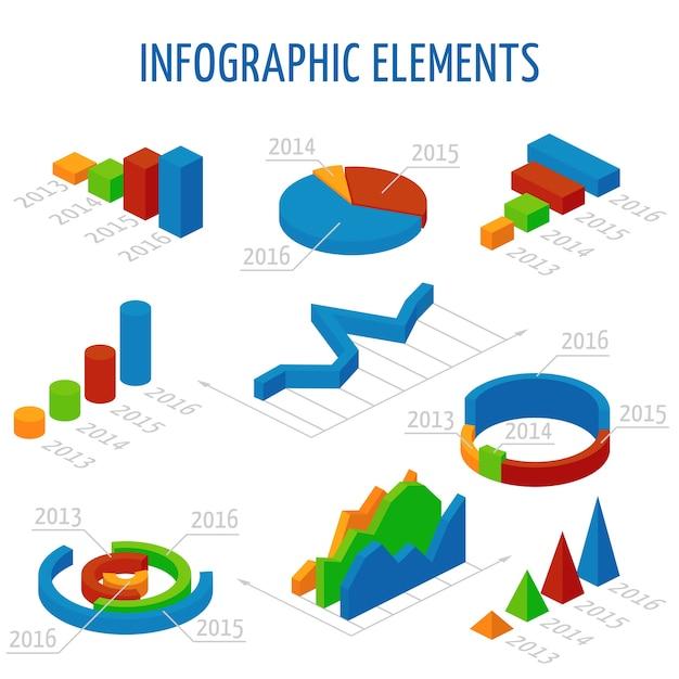 Isometrische 3d-vektor-diagramme für infografiken festgelegt Premium Vektoren