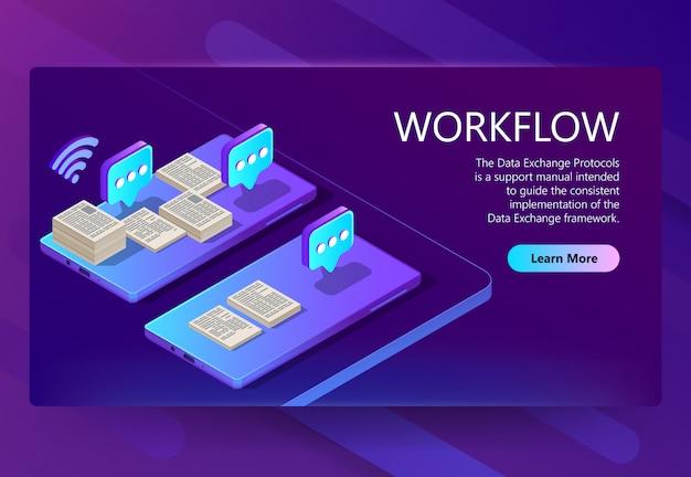 Isometrische 3d-vorlage mit workflow Kostenlosen Vektoren