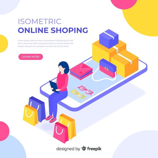 Isometrische abbildung des on-line-einkaufens Kostenlosen Vektoren