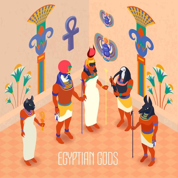 Isometrische ägypten illustration Kostenlosen Vektoren
