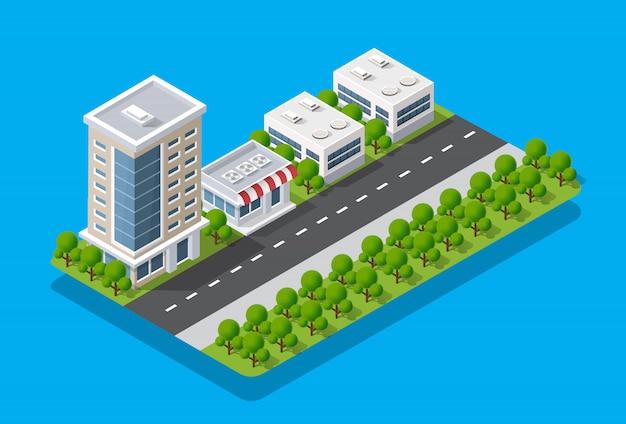 Isometrische ansicht der stadt. sammlung von häusern Premium Vektoren