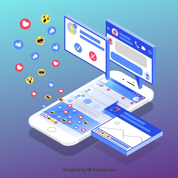 Isometrische ansicht des handys mit facebook-benachrichtigungen Kostenlosen Vektoren