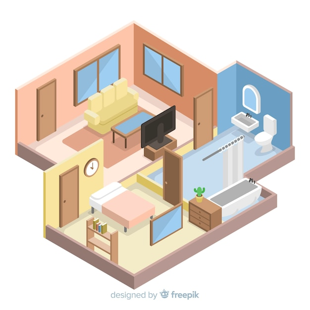 3d Floor Plan Isometric: Isometrische Ansicht Des Modernen Hauptinnenraums