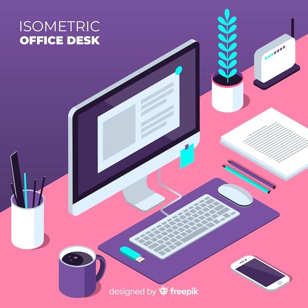 Isometrische ansicht des modernen schreibtischs Kostenlosen Vektoren