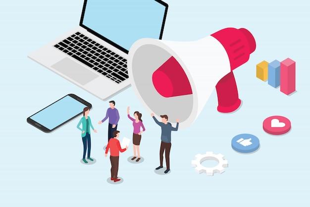 Isometrische art 3d des isometrischen social media-marketingkonzeptes Premium Vektoren