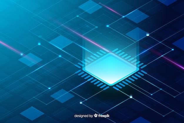 Isometrische art des leiterplatte-hintergrundes Kostenlosen Vektoren