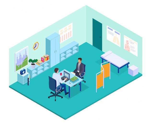 Isometrische arztpraxisillustration, arztcharakter, der am tisch sitzt und patienten im innenraum des krankenhauskabinetts berät Premium Vektoren