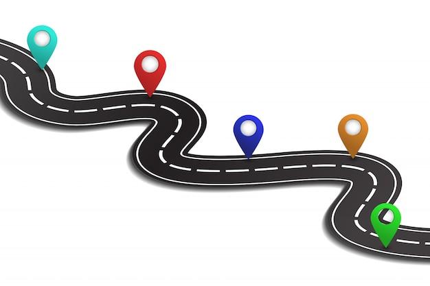 Isometrische asphaltstraße auf dem weißen hintergrund. konzept von logistik, reise, lieferung und transport. Premium Vektoren
