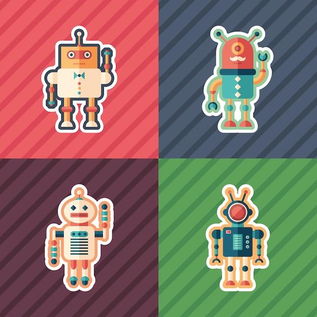 Isometrische aufkleber des intelligenten roboters eingestellt Premium Vektoren