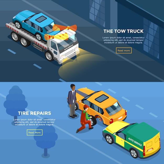 Isometrische auto-service-horizontale banner Kostenlosen Vektoren